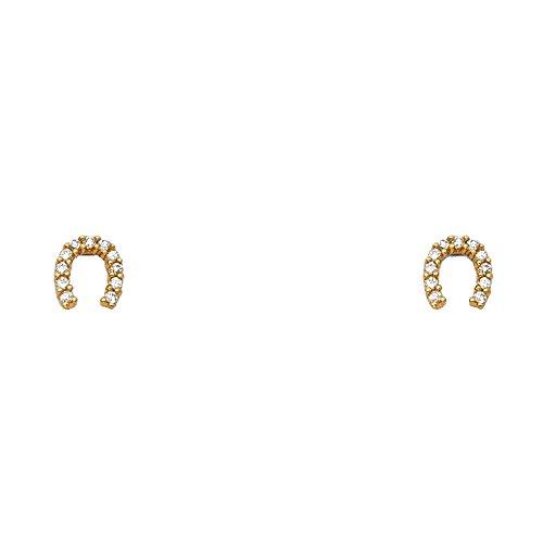 Wellingsale 14K Yellow Gold Polished Horse Shoe Stud Earrings With Screw Back -
