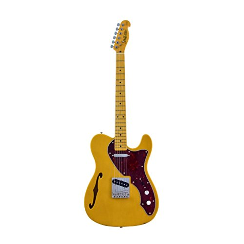 J&D TL Semi-Hollow Electric Guitar – Butterscotche Blonde Finish, Alder Body & Maple Neck by CNZ Audio
