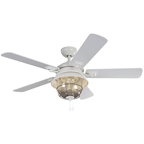 Harbor Breeze Altissa 52-in Matte White Indoor/Outdoor Downrod Mount Ceiling Fan with Light Kit