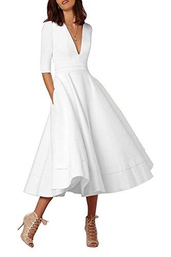 (Selenova Women's Double V-Neck Half-Sleeve Satin Tea Length Evening Dresses)