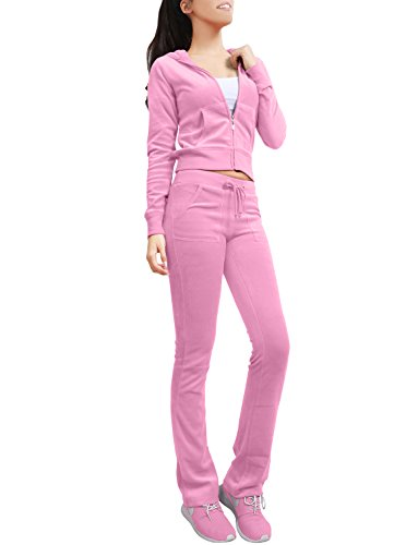 NE PEOPLE Womens Casual Basic Velour Zip Up Hoodie Sweatsuit Tracksuit Set S-3XL Dustypink ()