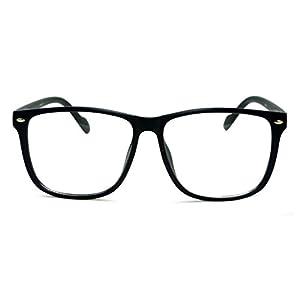 NERD Geek Style Oversize Frame Unisex Clear Lens Eye Glasses BLACK MATTE