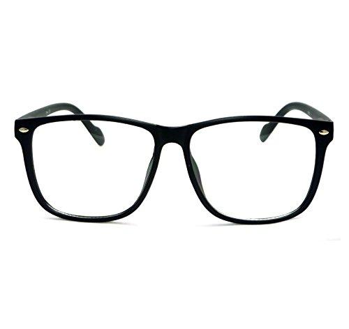 [NERD Geek Style Oversize Frame Unisex Clear Lens Eye Glasses BLACK MATTE] (Cheap Nerd Glasses)