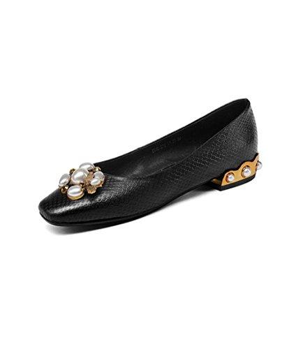 ZFNYY Hebilla de Perlas cuadradas de Moda Plaid Zapatos de Boca Baja Respirables Planos EN Relieve Hembra