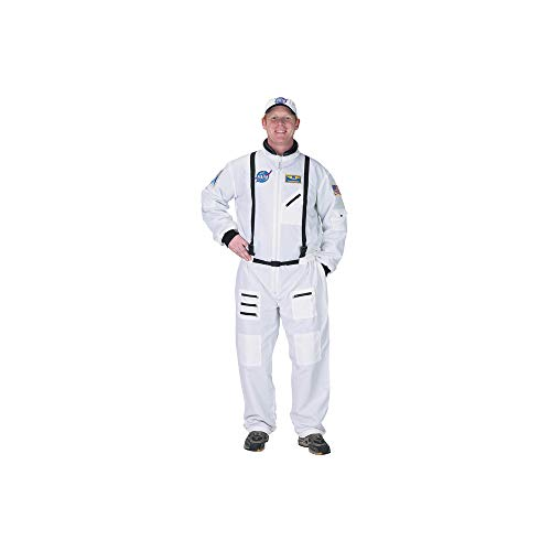 When I Grow Up Costume (Adult Astronaut Suit with Embroidered Cap Costume in White Size: Large)