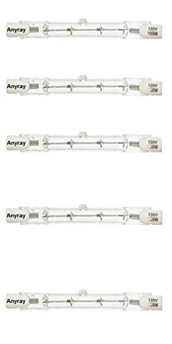 Anyray A1826Y (5)-Pack 100W Halogen Light Bulb 110V 120v 130V T3 J Type R7S 100 Watt Double Ended 78mm or 3-1/8 inch Long