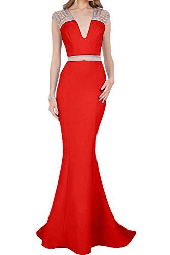 Damen Partykleid V Satin Ausschnitt Lang Abendkleid Liebling Rot Steine Mermaid Ivydressing Festkleid Promkleid 1wqZdg1