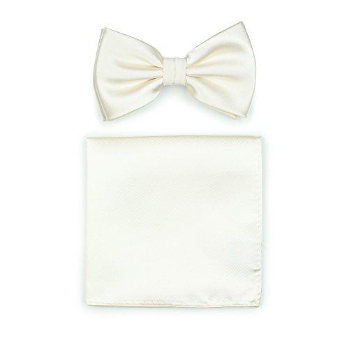 Bows-N-Ties Men's Solid Adjustable Pre-Tied Bow Tie and Pocket Square Set (Cream)