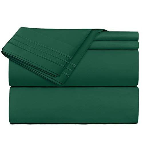 Nestl Bedding 4 Piece Sheet Set - 1800 Deep Pocket Bed Sheet Set - Hotel Luxury Double Brushed Microfiber Sheets - Deep Pocket Fitted Sheet, Flat Sheet, Pillow Cases, Full - Hunter Green ()