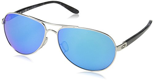 Oakley Women's OO4079 Feedback Aviator Metal Sunglasses, Polished Chrome/Prizm Sapphire Polarized, 59 ()