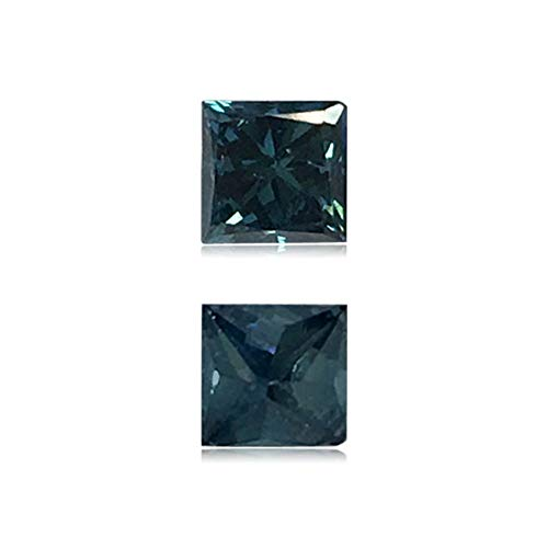 (Mysticdrop 0.5 Cts of 4x4x3.4 mm SI2 Princess Cut Teal Blue Diamond (1 pc) Loose Color Diamond)
