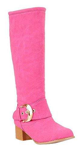 CHFSO Womens Stylish Solid Waterproof Fully Fur Lined Buckle Pull On Mid Block Knee High Knight Winter Boots Rose Red SOpZCR20rc