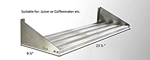 Mecete 304 Stainless Steel Standard Wall Shelf, Cookware Storage Organizer, Kitchen Wall Pot Pan Rack,With 6 Hooks, Capacity 60 lb