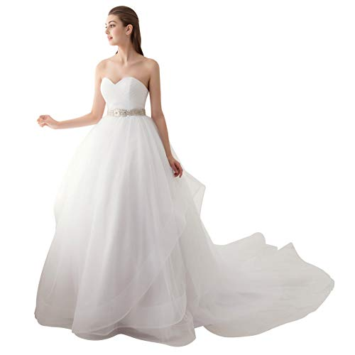 8f45391f13 Ubridal Sweetheart Ball Gown Beading Sash Ruffles Tulle Wedding Dress  Bridal Gown White 8