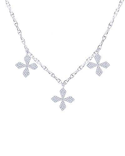 Diamond Flower Drop Necklace - Round Cut Natural Diamond Three Flower Drop Necklace in 14K Solid Gold (0.37 Cttw)