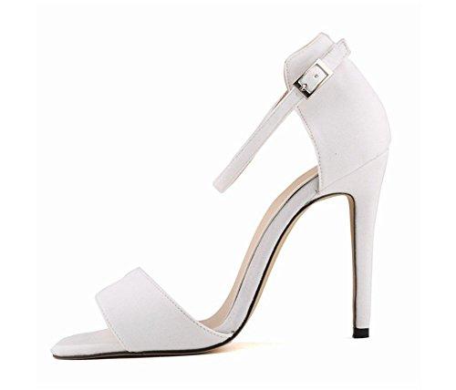 wealsex Sandales Suédé Bride Cheville Boucle Bout Ouvert Talon Aiguilles Haut Sexy Mode Femmes Blanc uvNgaZL
