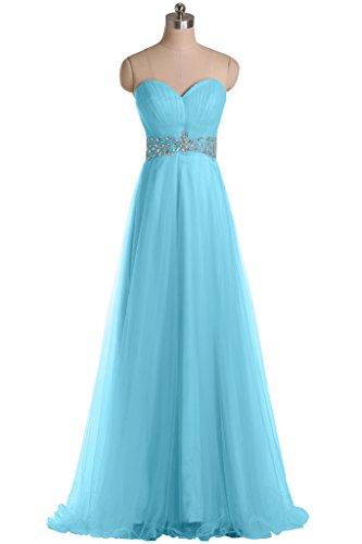 sunvary elegante una línea con cristales Pageant vestidos de tul Ocean Blue