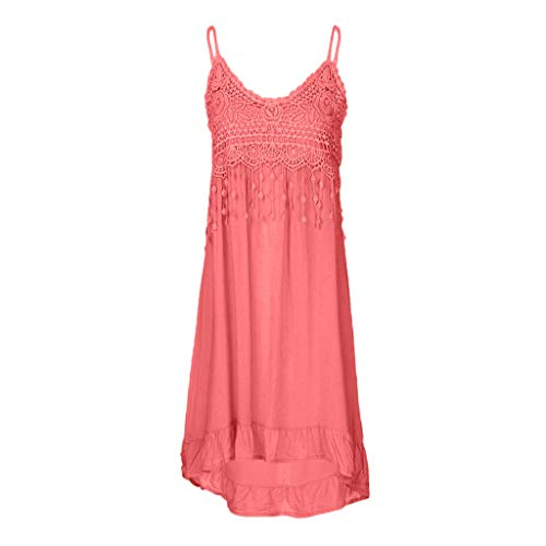 Sunhusing Women's Solid Color Sexy Lace Patchwork Off-Shoulder Strap Long Dress Summer Tassel Cotton Sundress Pink