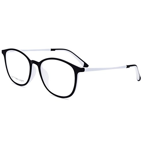HEPIDEM TR90 Women Round Optical Glasses Frame Eyeglasses Spectacles 6109 (White, 47)