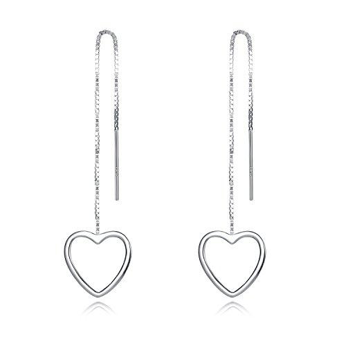 Heart Chain Dangle - Earrings Heart Earrings 925 Sterling Silver Earrings for Women by Sterling Silver Chain White