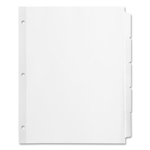 Business Source Index Dividers, Side Tab, 9/32'' Holes, 3HP, 5Tab, 36 per Box, White (2 Pack)