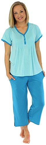 PajamaMania Women's V-Neck Short Sleeve Capri Pajama Set (PMR1930-2021-XL),Caribbean Blue,X-Large (Knit Capris Trim)