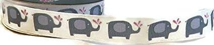 Cream//Pink//Gray Elephant Grosgrain Ribbon 4 Yards