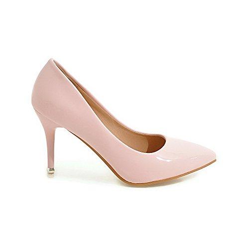 AllhqFashion Damen Lackleder Ziehen auf Spitz Zehe Hoher Absatz Rein Pumps Schuhe, Golden, 42