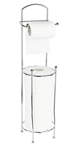 Estilo Free Standing Toilet Paper Holder for Bathroom - Chrome Toilet Roll Stand