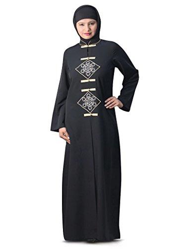 abaya donne Abito abito maxi casuale AY delle nero musulmane di MyBatua ricamato 122 q8wqHZ