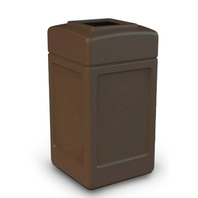 PolyTec Square Waste Container Capacity: 42 gallon, Color: Brown