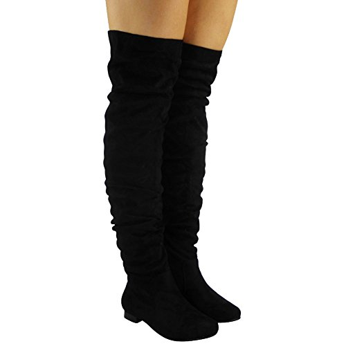 Flat The Low Black Shoes 3 Womens Ladies Size Up Boots Lace High 8 Knee Heel Thigh Over 48RWg