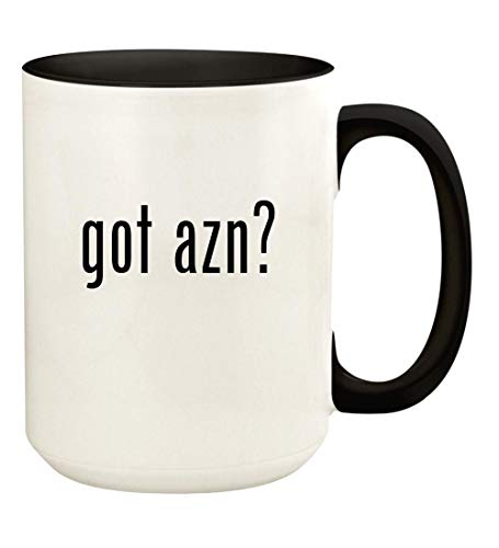 got azn? - 15oz Ceramic Colored Handle and Inside Coffee Mug Cup, Black