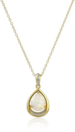 18k Yellow Gold Plated Sterling Silver Created Opal and Diamond Accent Teardrop Pendant Necklace, 18""
