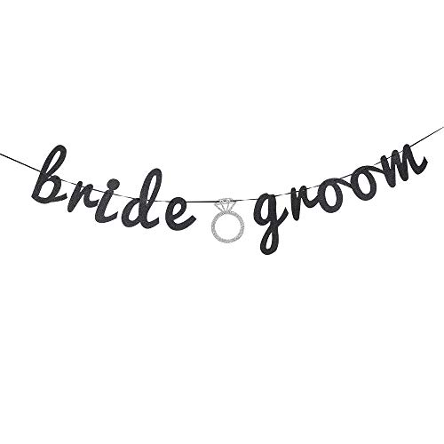 Glitter Bride Groom Banner, Bridal Shower Wedding Banner, Wedding String Decorations, Rustic Wedding Decor, Wedding Engagement Sign Photo Prop. -