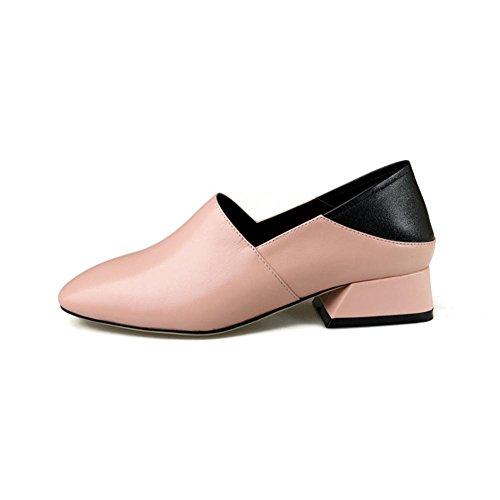 Paresseux Fait Rugueux EUR38UK55 Unique Talon Glisser NVXIE Cuir PINK Travail sur Noir Main Chunky en Marchant Confort Femmes Décontractée Chaussures Faible nRZAz6R