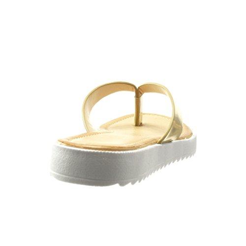 Angkorly - Scarpe da Moda sandali infradito cinturino donna lucide Tacco tacco piatto 2 CM - Oro