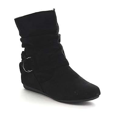 Amazon.com | Women's Fashion Calf Flat Heel Side Zipper