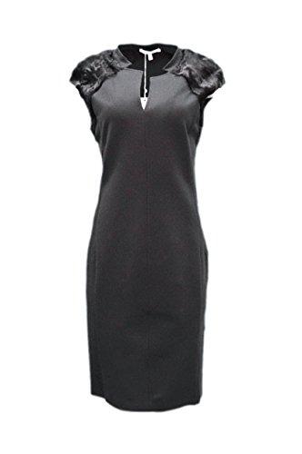 maxmara-womens-genuine-fur-trim-knit-nunzio-sheath-dress-sz-12-black-160168mm
