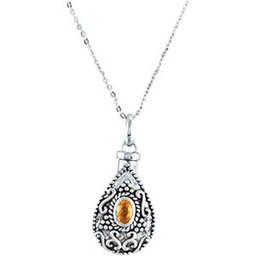 Orange-Yellow CZ Teardrop Ash Holder Necklace, Rhodium Plate Sterling Silver, 18'' by The Men's Jewelry Store (Unisex Jewelry)