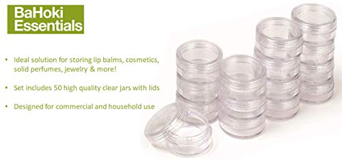 Bahoki Essentials 50 Sets of Clear Plastic Cosmetic Containers With Lids, 5 Mililiter, Store Eye Shadow, Lip Balm, Lotion, Crafts