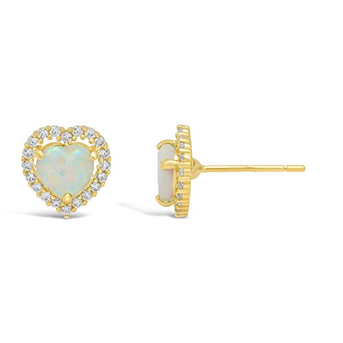 Lavari - .50 cttw Halo Heart 5MM Created Opal 14K Yellow Gold Stud Earrings ()