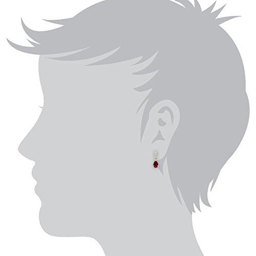Gemondo Bague Ruby-Boucles d'Oreilles-Or jaune 9carats, 0,98CT Rubis & Diamant poire-Boucles d'Oreilles Pendantes Femme -