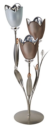 Mikasa 3-Light Frosted Glass and Metal Tulip Centerpiece, 19-Inch (Tulip Centerpiece)