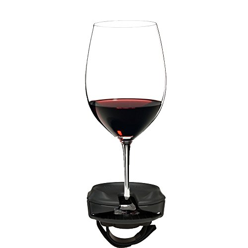 Outdoor Wine Glass Holder by Bella DVine for Stemmed Wine Glasses, Comes with a Strap Base for Chairs and Railing, Fun Wine Gift in Graphite Grey