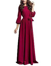 Suvimuga Womens Maxi Dress Vintage Lantern Sleeve Tie Waist Swing Party Dresses