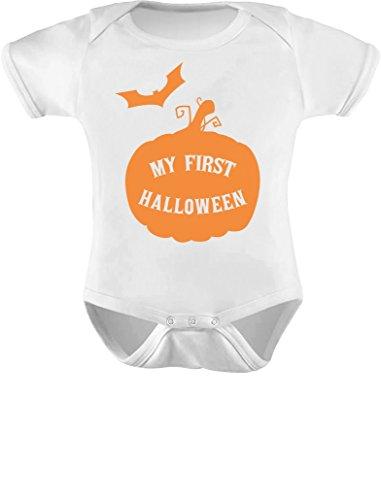 TeeStars - My First Halloween Baby Grow Vest - Cute Unisex Baby Bodysuit Newborn White (First Halloween Outfit)