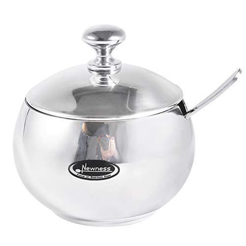 Newness Stainless Steel Sugar Bowl with Lid and Sugar Spoon for Home, Drum Shape, 9.0 Ounces(270 Milliliter)