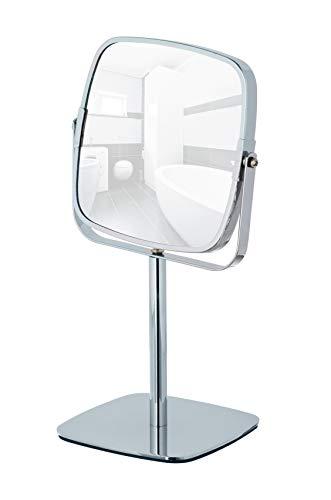WENKO Kosmetikspiegel Kare - Standspiegel, Spiegelfläche: 14 x 14 cm 500 % Vergrößerung, Stahl, 17 x 29.5 x 13 cm, Chrom