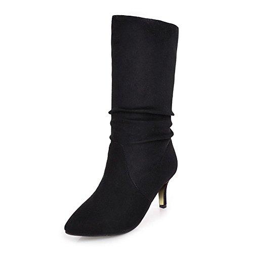de Toe de cuero parte de botas talón Zapatos Mid Black nubuck Botas Side moda Stiletto otoño HSXZ invierno por botas señaló mujer Calf Draped casual ZY8vq